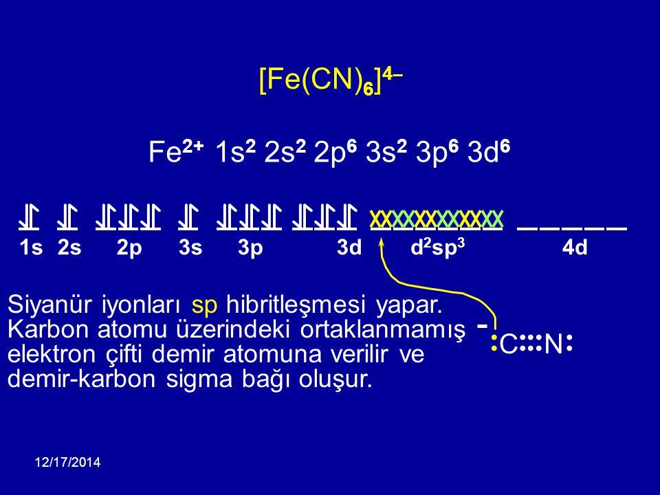 [Fe(CN)6]4¯ Fe2+ 1s2 2s2 2p6 3s2 3p6 3d6 C N